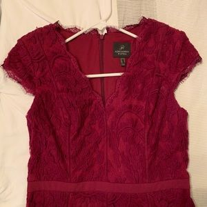 Adrianna Papell Wine Lace Cocktail Dress Sz6